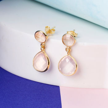 Rose Quartz Stud And Drop Earrings