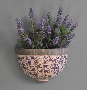 Ditsy Blue And White Ceramic Wall Planter By Garden