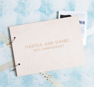 Personalised Minimalist Anniversary Keepsake Book - 25th anniversary: silver