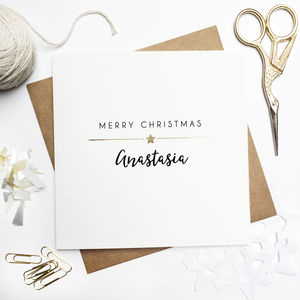 Personalised Merry Christmas Foiled Card