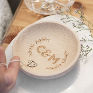 Personalised Wedding Couples Initials Wooden Ring Dish
