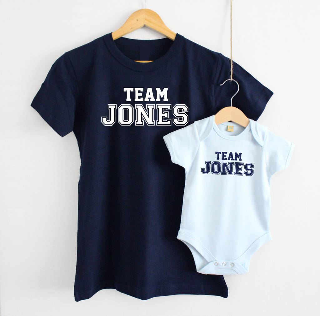 'Team Surname' Mother And Baby T Shirt Set