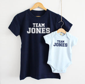 'Team Surname' Mother And Baby T Shirt Set - parent and child sets