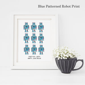 Personalised Robot Pattern Fine Art Print - posters & prints