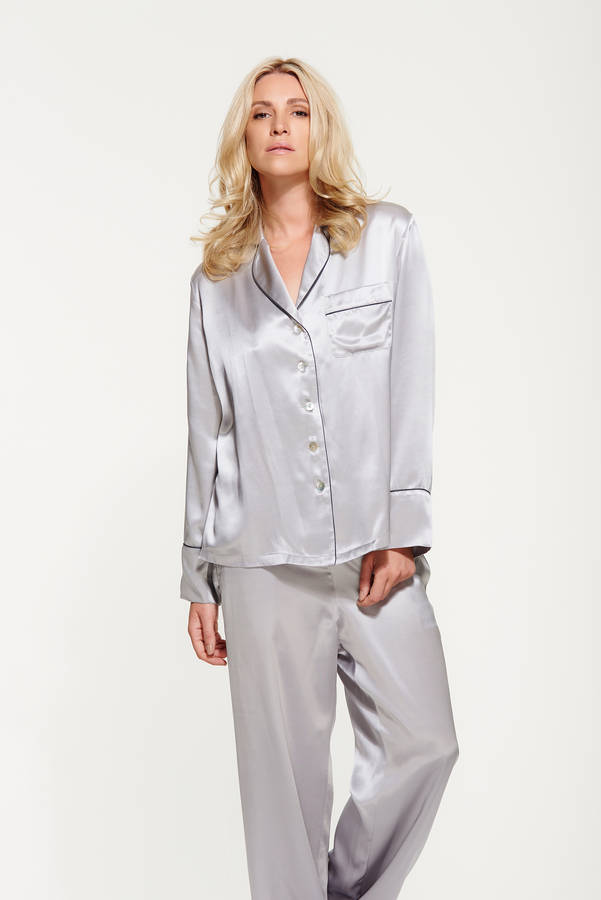 e5e04d23697a women s silk long pyjama set by silk   grey