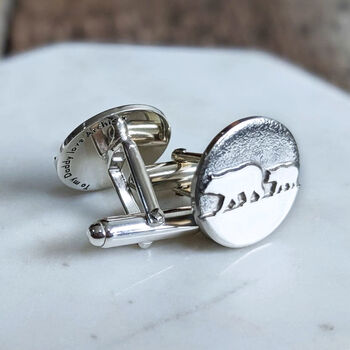 Personalised Silver Papa Bear Cufflinks