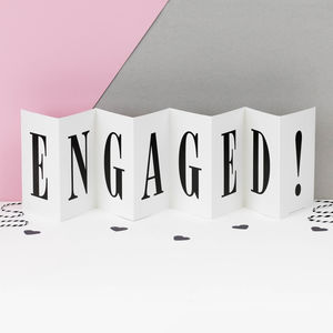 Personalised Engagement Card; Engaged! Concertina Card