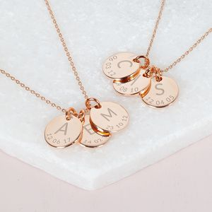 Personalised Triple Initial And Date Necklace - gifts for mothers