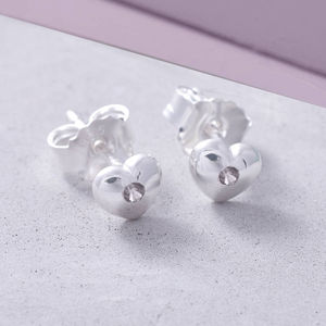 Sterling Silver Birthstone Heart Earrings - children's jewellery