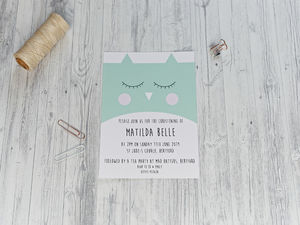 Cute Owl Christening Invitation - invitations