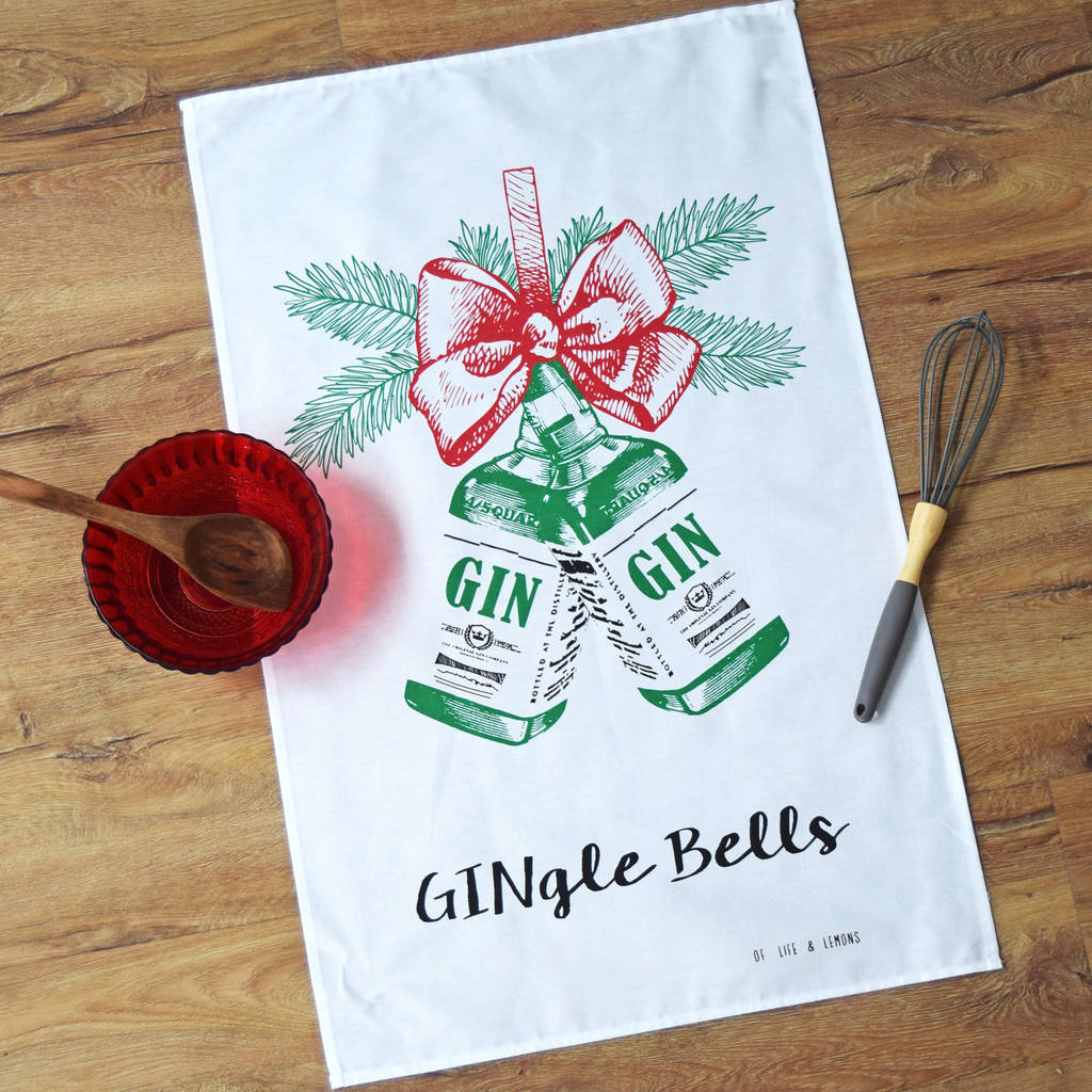free ecard christmas party invitations%0A Christmas Gin Tea Towel