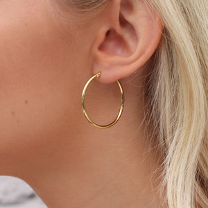 18ct Rose Gold And Yellow Gold Large Hoop Earrings - earrings
