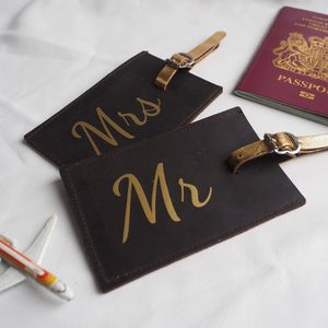 Mr And Mrs Honeymoon Luggage Tags - wedding day tokens