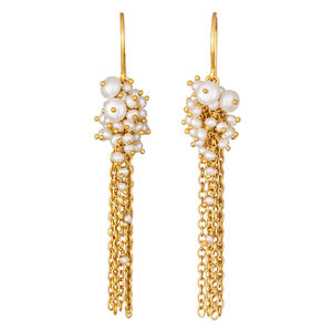 Small Gold And Pearl Tassel Earrings