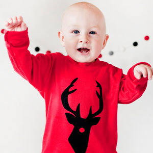 Christmas 'Red Nosed Reindeer' T Shirt - baby's first christmas