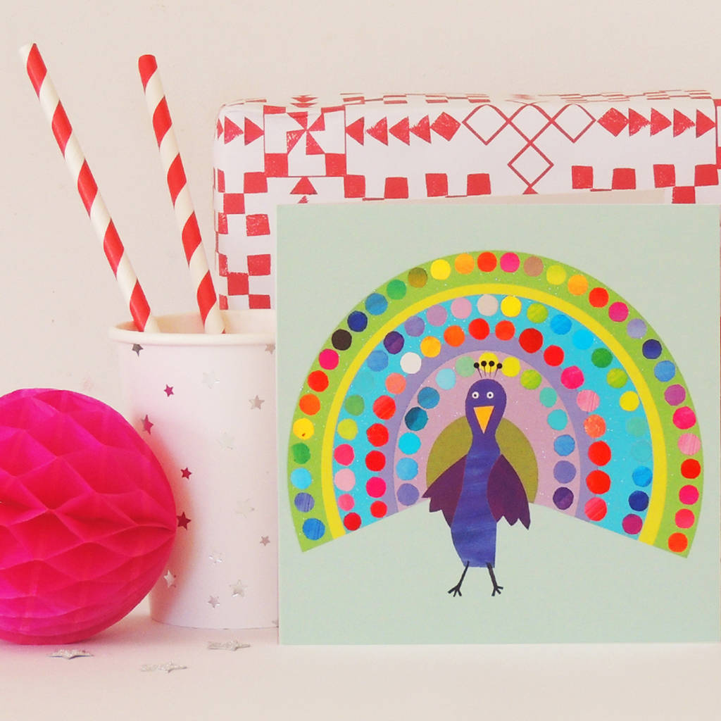 sparkly peacock card by kali stileman publishing