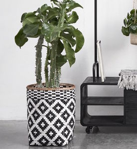 Black And White Square Bamboo Basket