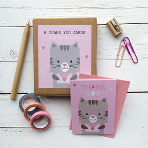 Children's Mini Thank You Cards Cat