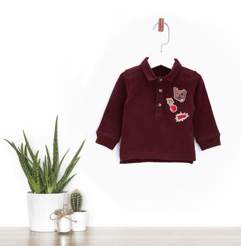 Pug Printed Polo T Shirt For Baby Boys