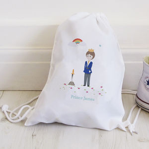 Personalised Prince Drawstring Bag