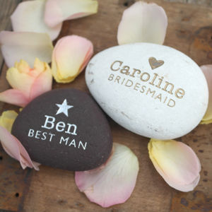 Metallic Personalised Wedding Pebble