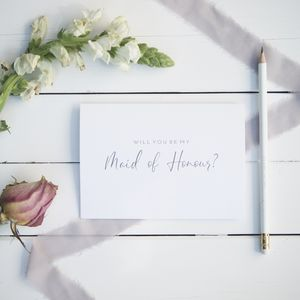 Will You Be My Maid Of Honour Card Calligraphy