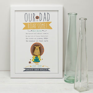 'My Dad Is Roar Some' Personalised Print For Fathers - drawings & illustrations