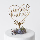Personalised Couples Heart Cake Topper - styling your day