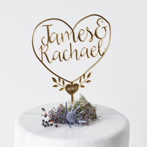 Personalised Couples Heart Cake Topper - cake decoration