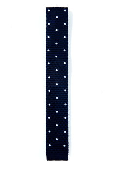 Navy Blue Polka Dot Silk Knitted Tie