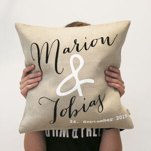 Personalised Linen Couple's Cushion Wedding Gift