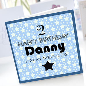 Boys 2nd Birthday Star Card