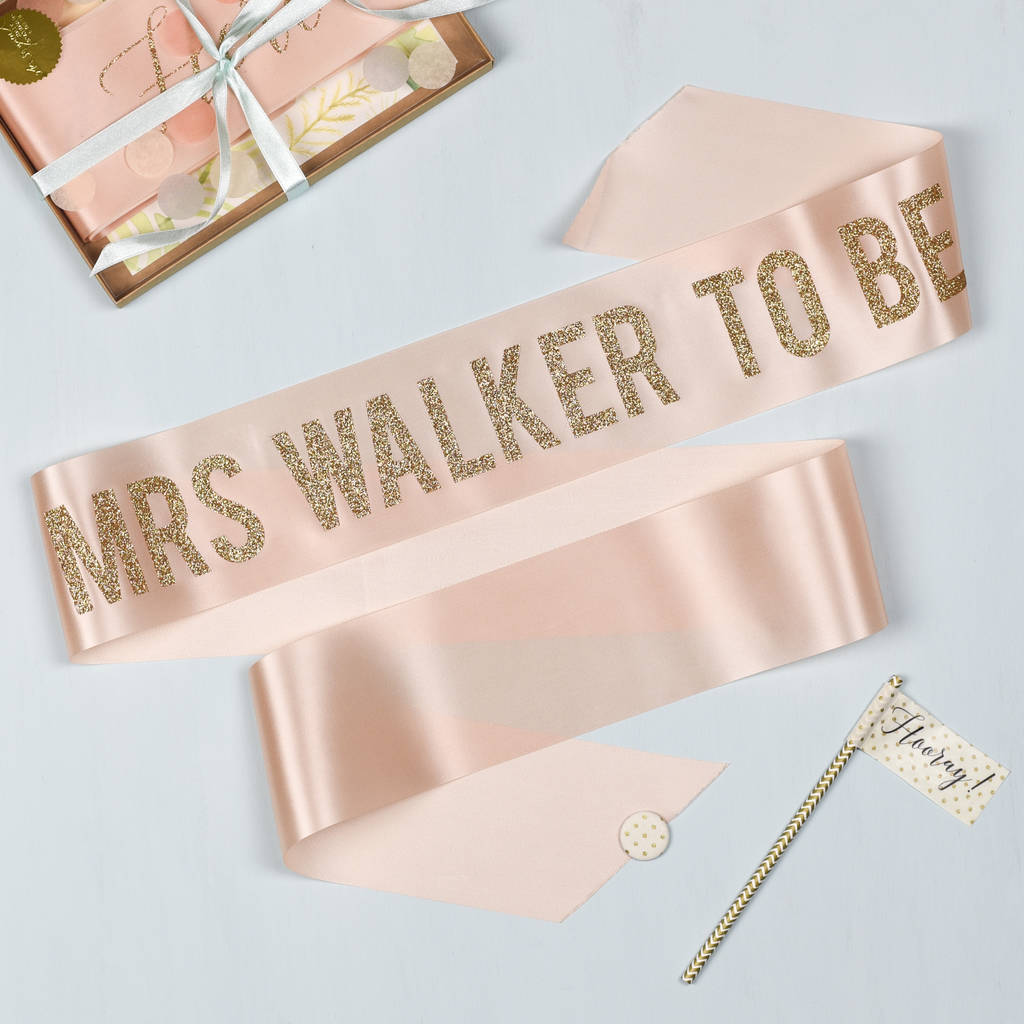 Personalised Bold Glitter Print Hen Party Sash Ideas