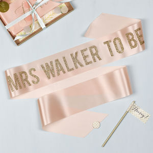 Personalised Bold Glitter Print Hen Party Sash