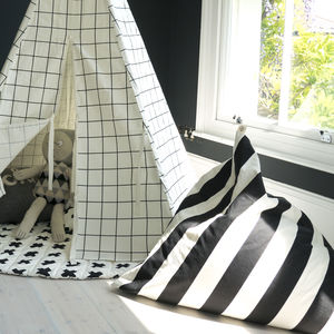 Monochrome Print Pyramid Bean Bag - children's furniture