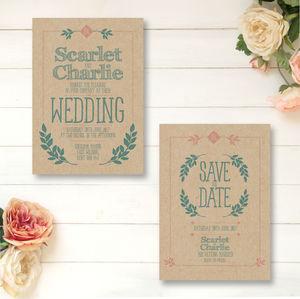 Kraft Country Wedding Stationery Set - invitations