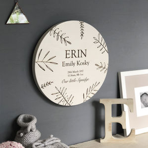 Oak Engraved New Baby Wall Plaque