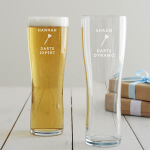 Personalised Darts Pint Glass - summer sale