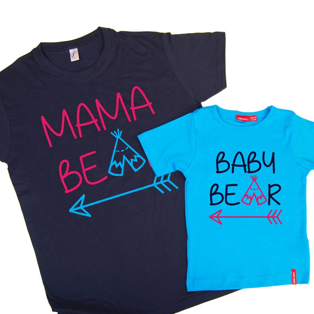 a88d82c2 Personalised Mama Bear And Baby Bear T Shirt Set. Round Neck T shirt. Print  Colours