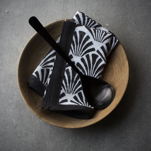 Black And White Block Print Napkin - table linen
