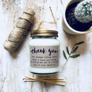Personalised 'Thank You Message' Soy Scented Candle - thank you gifts
