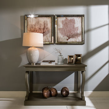 Glazed Ceramic Table Lamp With Linen Shade
