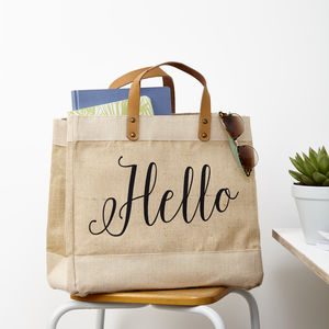 Hello Jute Storage Bag With Leather Handles - storage bags