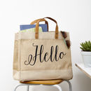 Hello Jute Storage Bag With Leather Handles