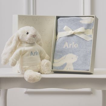 Personalised Blue Bashful Blanket And Bunny Baby Set
