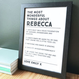 Personalised Wonderful Things About Print - typography