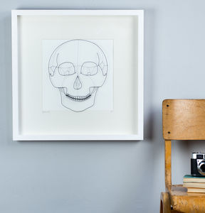 Framed Original 3D Wire 'Underneath' Skull Artwork
