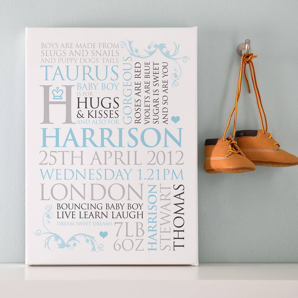 personalised baby birth announcement art by cherry pete – Birth Announcement Art