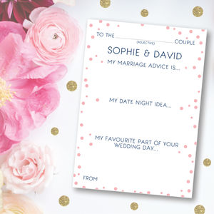 50 Personalised Wedding Advice Cards - table decorations