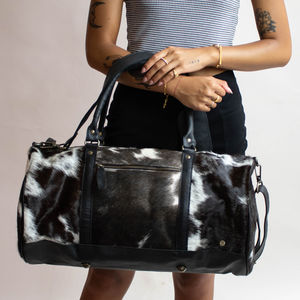 Black And White Pony Hair Leather Classic Duffle